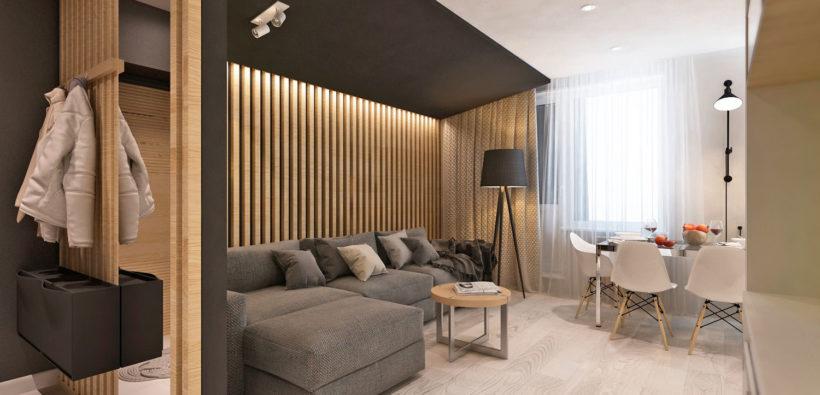 Дизайн однокомнатной квартиры с перегородкой