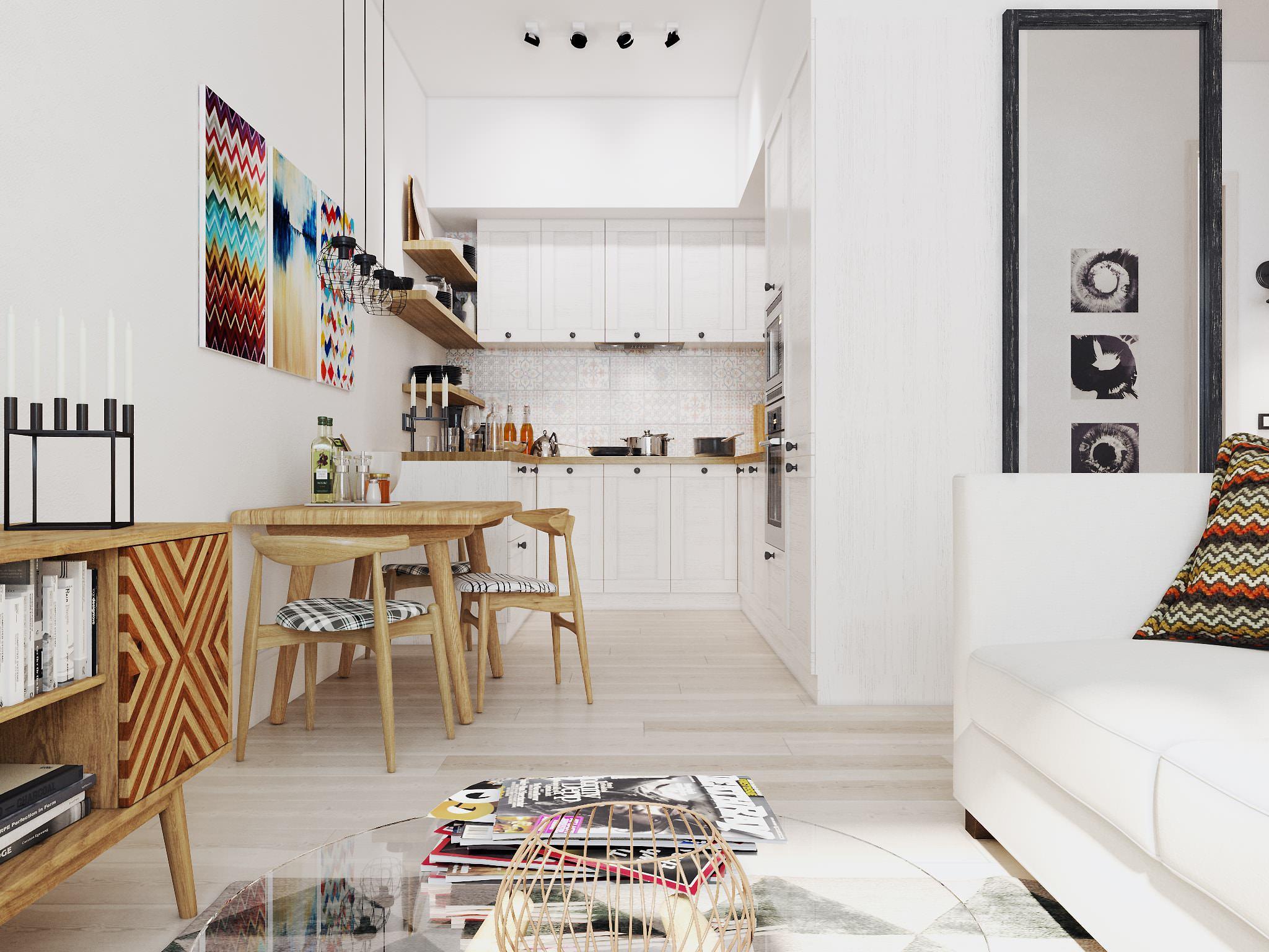 Дизайн однокомнатной квартиры-студии - 15 фото