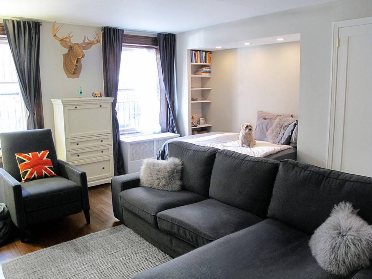 інтер'єр однокімнатної квартири з нішею