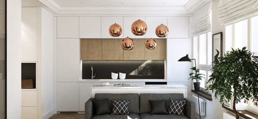 Интерьер однокомнатной квартиры — минимализм в деле