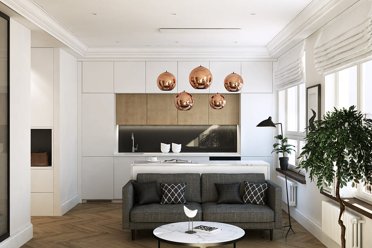 Интерьер однокомнатной квартиры - минимализм в деле