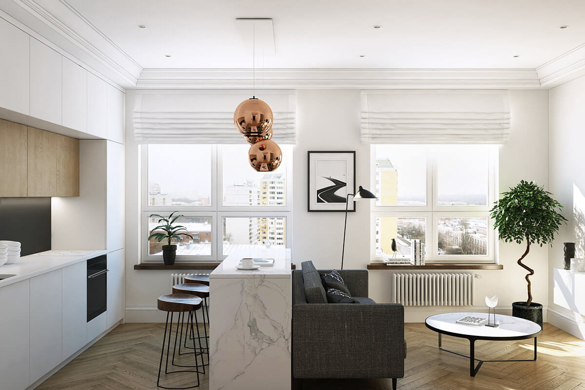 Интерьер однокомнатной квартиры минимализм