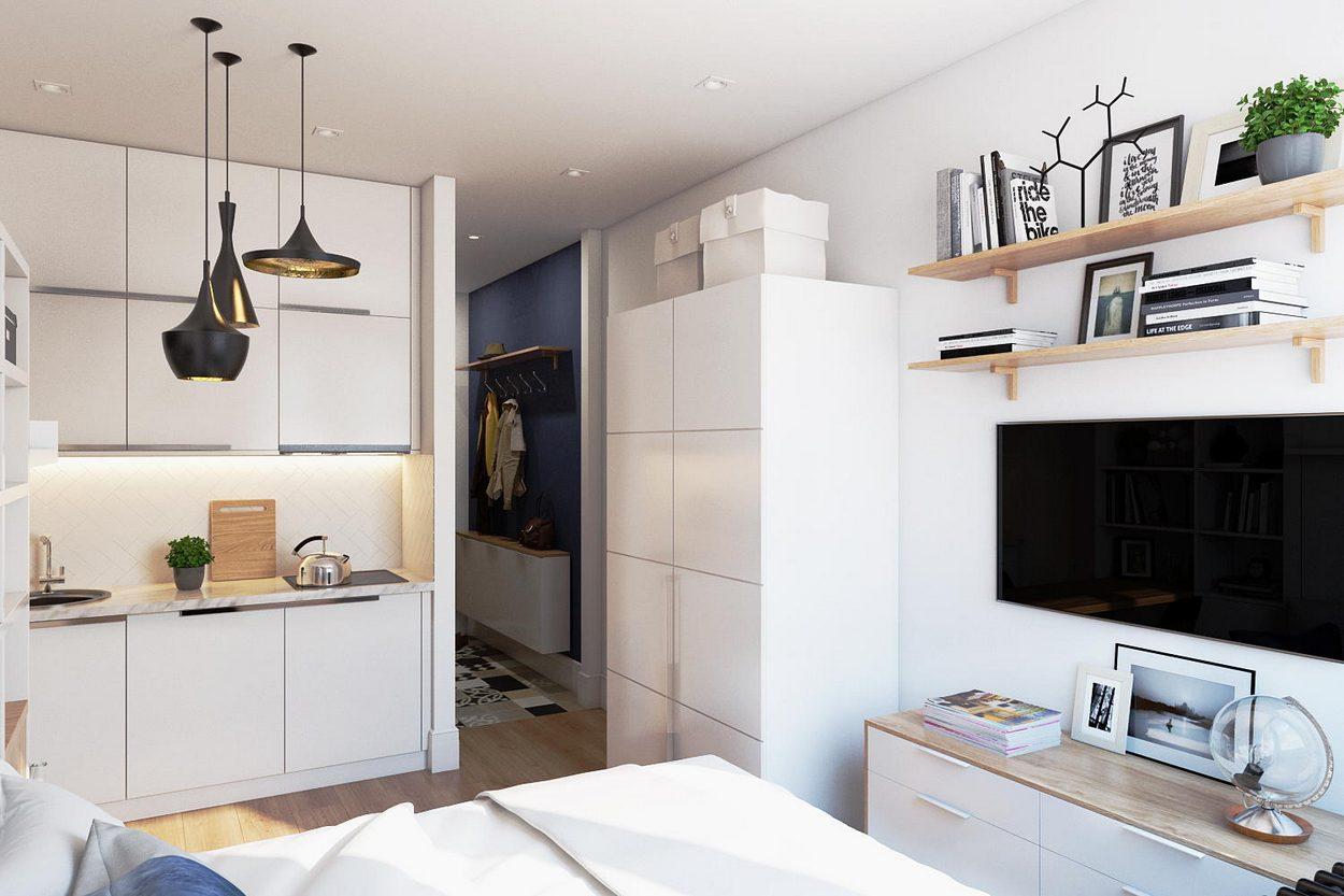дизайн однокомнатной квартиры студии 40 кв м фото