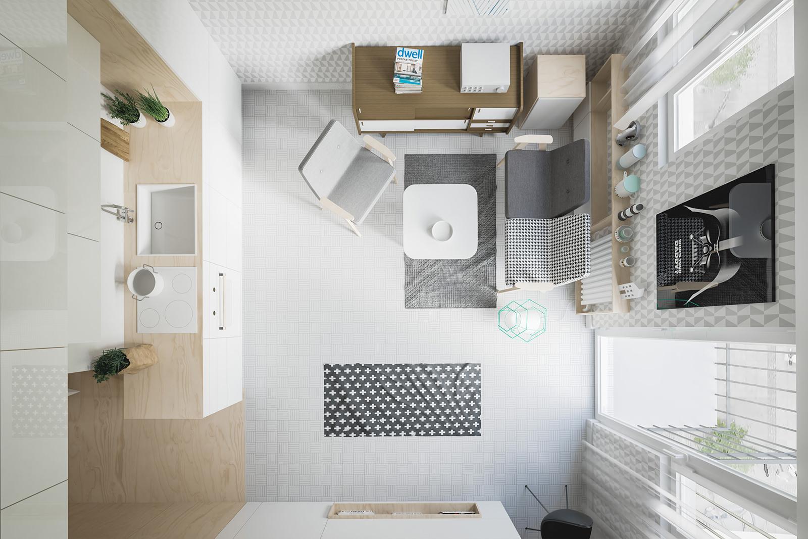 дизайн квартиры студии квадратной планировки
